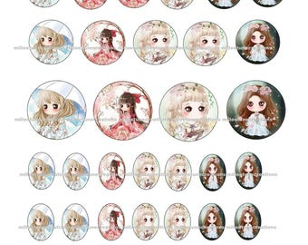 Series 40 - 40 Digital Images girl creations cabochons - sending by e-mail