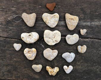 16 Heart Pebbles Natural Heart stones Heart Shaped Sea Rock Beach Stones Sea Stones Craft Romantic Decor Real Beach pebble for Scrapbooking