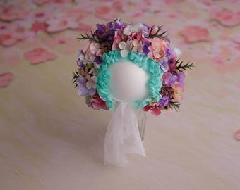 Sitter bonnet, flower bonnet, flower hat, phtoprops, photography prop, sitter, flower crown, props shoot