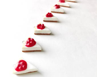 Miniature Food Jewelry, Classic Cherry Cheesecake, Handmade Polymer Clay Food Charm, Zipper Pull, Braclet Charm