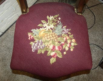 Signature Possible 1800s Mahogany Needlepoint Balloon Back Desk Side Chair 1 (LAYAWAY AVAILABLE)