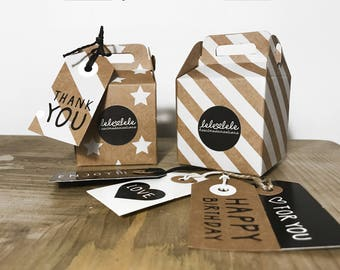 Gift Box Set-box and tag in recycled cardboard