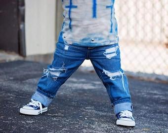 Sawyer jeans, distressed jeans, ripped jeans, boy distressed jeans, baby jeans, distressed toddler jeans, distressed baby jeans