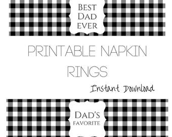 Father's Day Napkin Ring Printable, Funny Father's Day Decor, Napkin Wrap, Dad's Birthday Decor, Gingham Napkin Ring Download