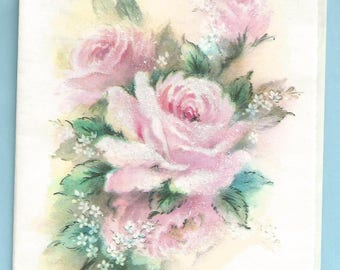 """1960s Lovely Get Well Card """"To Wish You Good Health"""" Pink Rose"""