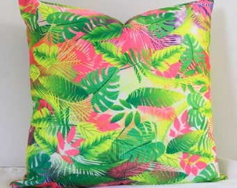 18x18 Tropical Neon Pillow cover, pillow, Pillow Cover, Decorative Pillow.