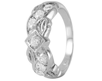 14KT White Gold 0.63ctw Diamond Ring, 3.71gm. Size: 5.75 -307