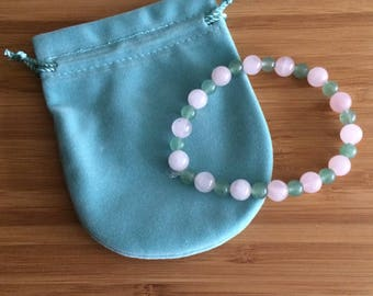 Green Aventurine and Rose Quartz Crystal Semi Precious Gem Stone Bead Bracelet
