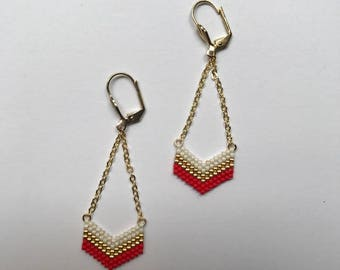 ∎ VICTORY ∎ chevron - red tones earrings white and gold