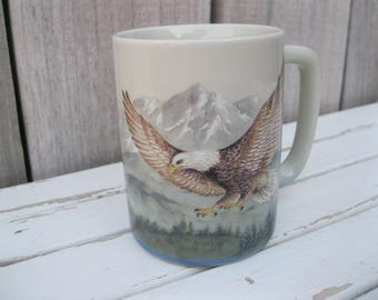 Vintage EAGLE MUG<>OTAGIRI Eagle Coffee Cup<>Eagle and Snow Capped Mountains Otagiri Mug<>Eagle Tea Or Coffee Mug<>Beautiful Otagiri Mug.