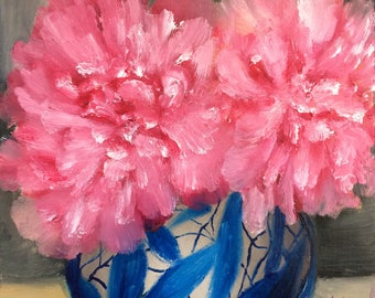 Pair of Pink Peonies, original floral oil painting