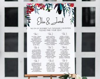 Wedding Seating Charts, Wedding Seating Signs, Wedding Seating Plans, Seating Chart Template, Red Seating Chart, Floral Seating Chart