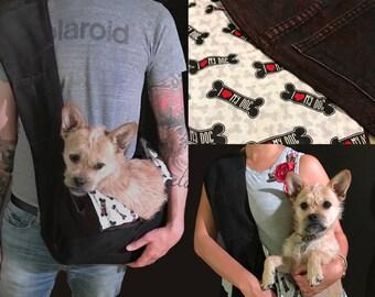 "Bullshitz Doggie Bagz: Red Black Denim and ""I Love My Dog"" Bones"