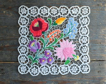 Vintage Kalocsa Tablecloth, Small Lace Tablecloth, Lace Doily, Embroidered  Tablecloth, Kalocsa Embroidery