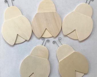 Unfinished wood ladybugs/wood ladybugs/diy ladybugs/unfinished wood shape/kids project/paint project/paintable ladybugs/