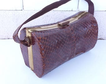 Vintage 1950s Faux Alligator Handbag with Strap and Brass Closure