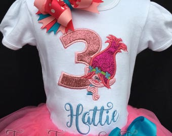 Custom Trolls Princess Poppy Inspired Glitter Applique Birthday Party Shirt With Name