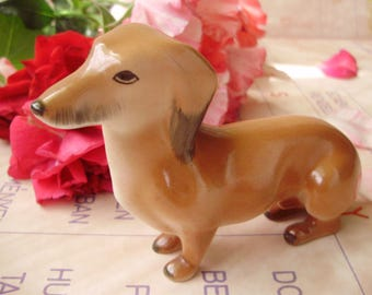 "Vintage Hungarian porcelain ,dog,puppy,animal figurine,DACHSHUND ,handpainted""Take me home"""