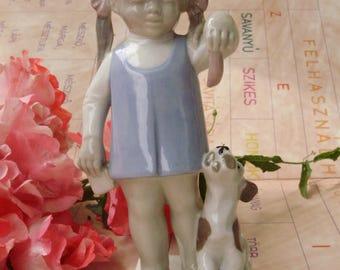 Vintage, Greiner&Herda  porcelain child figurine,little girl w.puppy,handpainted,фарфоровая статуэтка