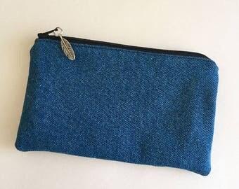 Denim coin purse. Small denim pouch. Small denim make-up bag. Denim sunglasses case. Denim bag. Teen bag.