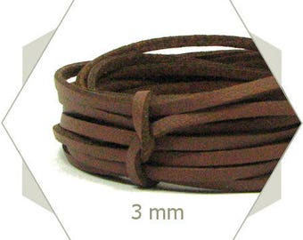 1 m cord 3 mm Brown CP19 leatherette