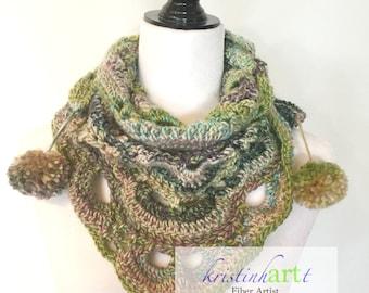 Watercolor Cowl / Handmade Crochet / Green / Purple / Pink / Aqua / Gray / Women's Gift Idea / Collar / Shawlette