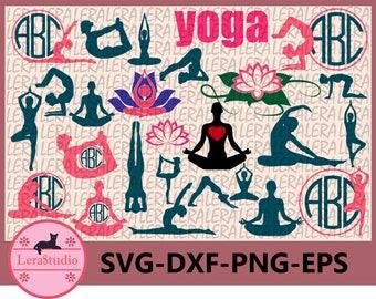 60 % OFF, Yoga SVG, Yoga Monogram Svg, Meditation Svg, Png, Eps, Dxf, Lotus flower Svg, Yoga Silhouette,Instant Download, Silhouette Cameo