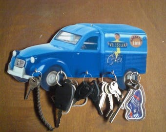 2 CV VELOSOLEX wall key holder, key hook wall vintage personalized