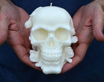 Large candle Skull in roses, scull candle, skull candle, spiritual candle, haloween candle, gothic candle, home decor, skeleton candle