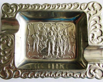 Rare Old Vintage Metal Ashtray - Musketeers 1960's
