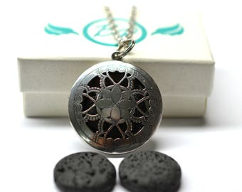 Lotus Lava Stone Diffuser Necklace - With Choice of Essential Oil