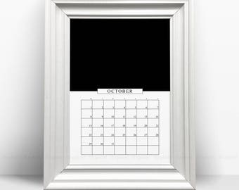 Black And White Printable Monthly Calendar 2018, Minimalist 12 Month Desk Calendars Print, Ascetic Vertical Affiche Pages, Digital Download.