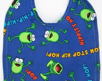 FROGS! Hip Hop frogs! Baby bib 100% Cotton