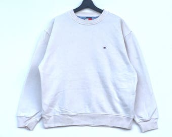 Rare!! TOMMY HILFIGER Small Logo Embroidery Branded Hip hop Swag White Colour Medium Size