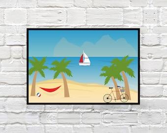 Instant Download, Art, Decoration, Beach, Sailing