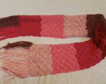 Hand Crocheted Lacy Wool Blend Scarf with Fringe