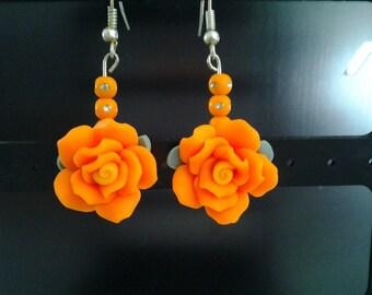 Fimo polymer clay flower drop earrings-Orange