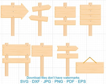 Wood Signs Clipart SVG, Signboard, Guidepost Clipart SVG DXF Silhouette Cricut Cut Files Commercial use