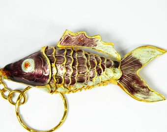 "3.2"" Long Chinese Purple Cloisonne Copper Brass Enamel Articulated Carp Koi Fish Figurine Pendant,Make Jewelry home Ornament Decoration"