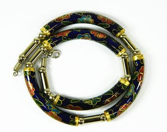 Vintage Blue Cloisonne Copper Enamel Arc Tube Necklace,Floral Pattern,Good Jewelry Collection,Chinese Traditional Handicraft