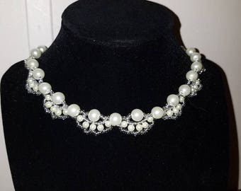 Pearl & Crystal Necklace with Earrings