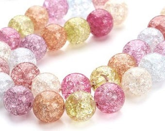 10 acrylic crackled beads mixed 12 mm