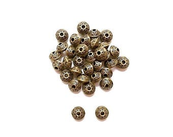 20 round dots 6mm Antique Bronze beads
