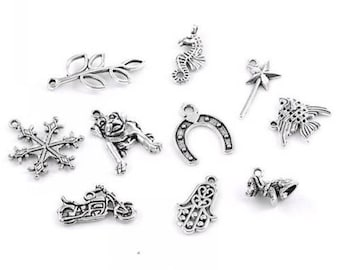 30 charms mixed shape antique silver