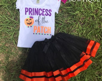 Princess of the patch/  with Black Tutu Skirt/ pumpkin patch outfit/ Pumpkin skirt/ Halloween girls outfit