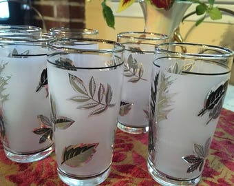 Vintage Silver Leaf Libbey Juice Glasses,  Set of 6, Mid Century Shot Glasses