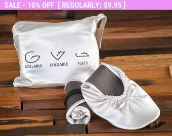 Foldable Flats, Rollable Flats, Ballerina Flats, Wedding Flats, Wedding Slippers, Bridesmaid Flats, Shoes for Bridesmaids, Flat Shoes