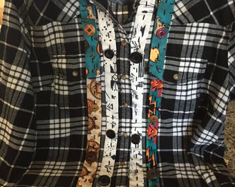 Flannel Shirt with Hand-stitched  Applique #5