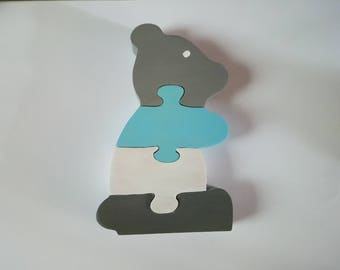 Wooden bear, puzzle toy. Deco kid's room.
