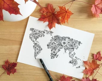 World map flower